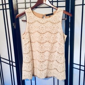 Ivory Lace Sleeveless Blouse